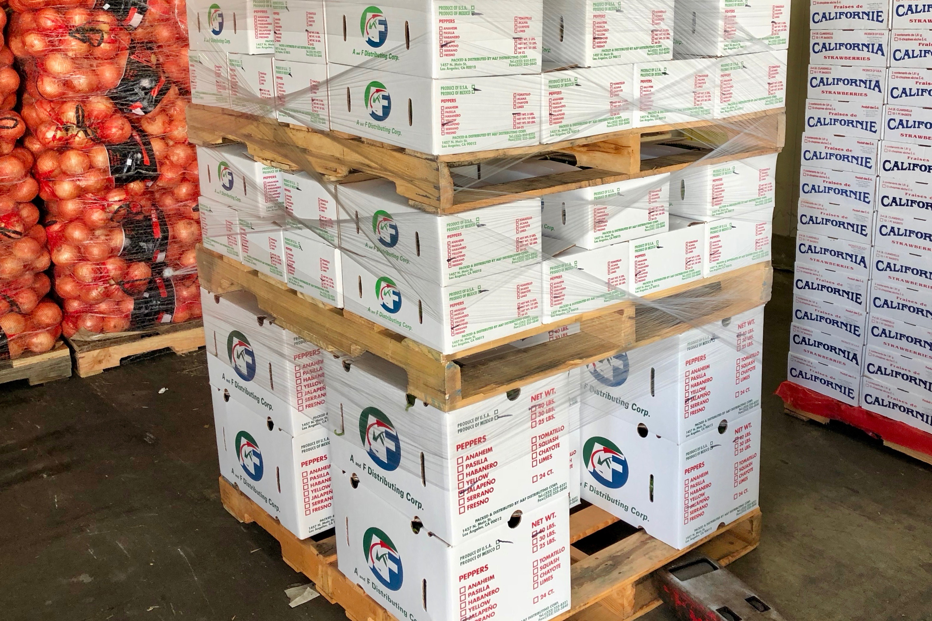 Repacked Produce from A and F Distributing Corporation.